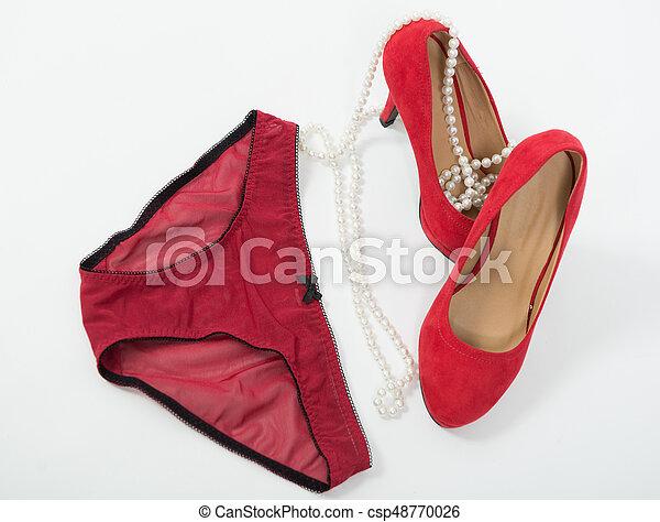 Women's panties and red heel shoes - csp48770026
