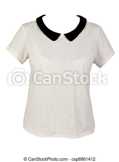c3c6cf8a Women's shirt with black collar isolated on a white background.