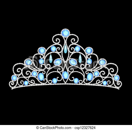 women's tiara crown wedding with blue stones and pearls - csp12327624