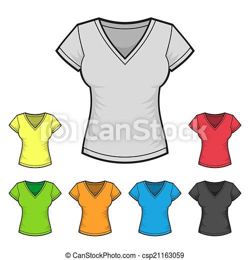Women\'s v-neck t-shirt design template color set. vector illustration.