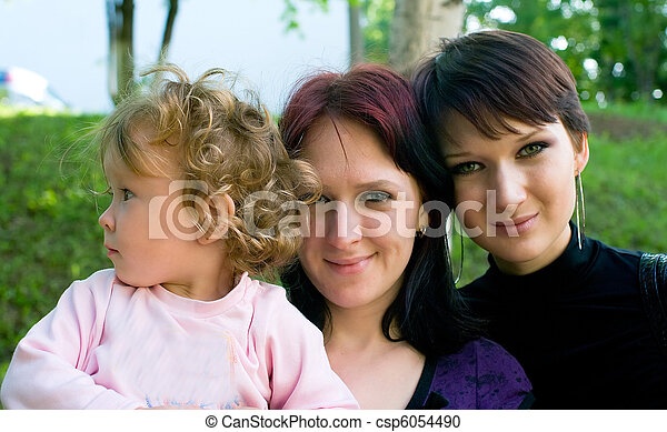womens with a little child - csp6054490