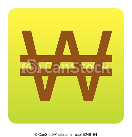 Won sign. Vector. Brown icon at green-yellow gradient square with rounded corners on white background. Isolated. - csp45246164