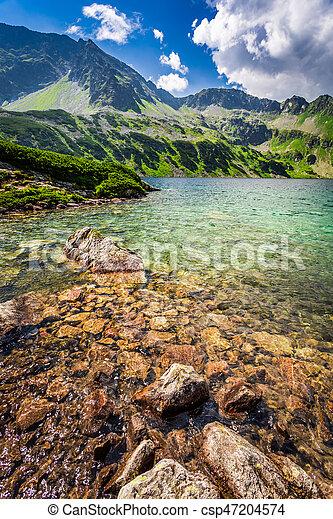 Wonderful blue lake in the mountains, Poland, Europe - csp47204574