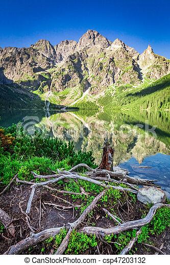 Wonderful sunrise at lake in the Tatra Mountains, Poland, Europe - csp47203132