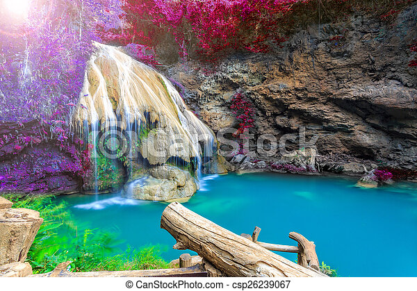 wonderful waterfall with colorful tree in thailand  - csp26239067