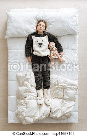Wonderful Young Girl Lying On The Bed Finally Asleep Lovely Cute Pretty Lady Relaxing On A Soft White Sheets In Her Room