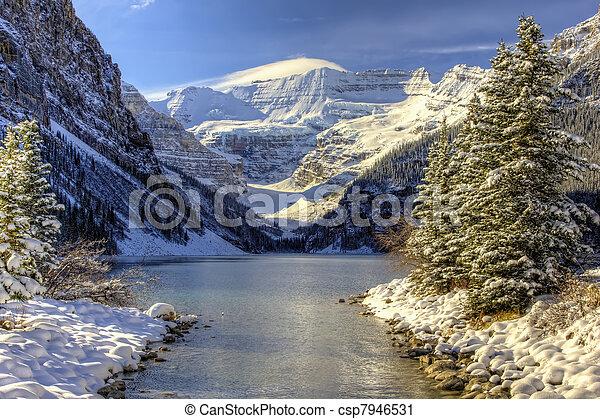 wonderland, louise, inverno, lago - csp7946531