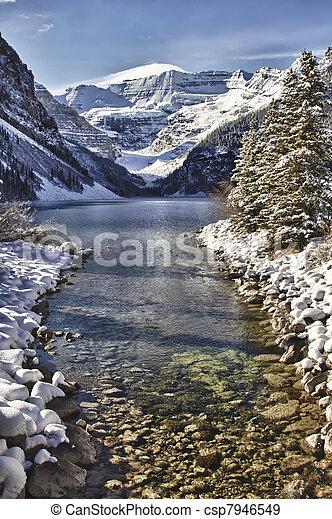 wonderland, louise, inverno, lago - csp7946549