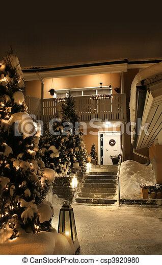 woning, ingang, kerstmis - csp3920980