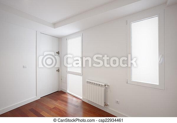 Woning ingang witte muren gang. ingang vloer houten huis