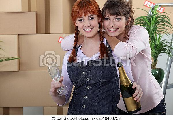 woning, vrouwen, verhuizen, twee, vieren - csp10468753