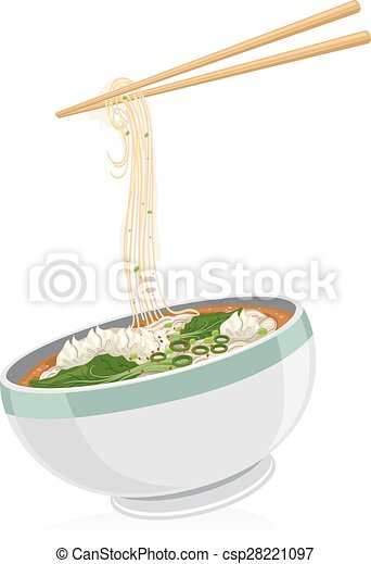 Illustration Of A Bowl Of Wonton Noodles With A Pair Of Chopsticks