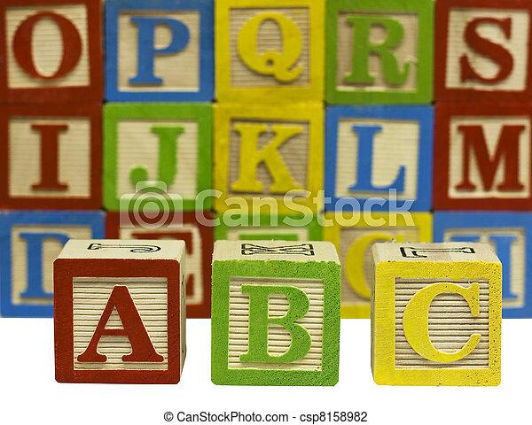 wood alphabet blocks - csp8158982