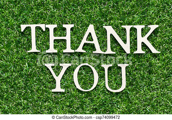 Wood alphabet letter in word thank you on artificial green grass background - csp74099472