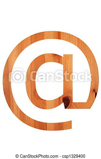 wood alphabet @ - csp1329400