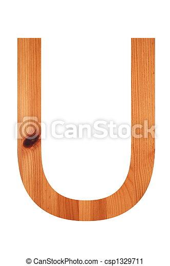 wood alphabet U - csp1329711