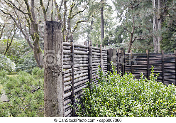 Wood and Bamboo Fencing at Japanese Garden - csp6007866