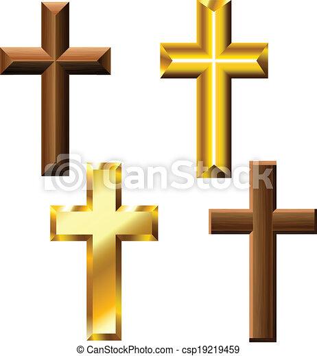Wood and gold cross set - csp19219459