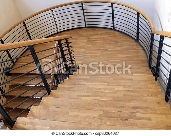wood and steel stairway in the modern building - csp30264027