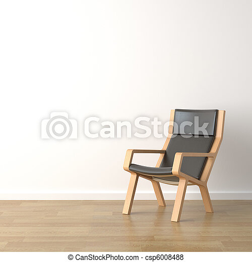 wood armchair on white - csp6008488