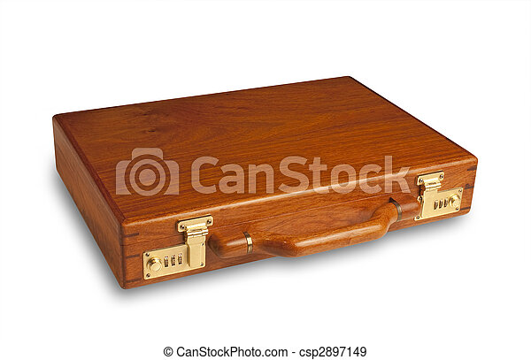 Wood attache case,isolated - csp2897149