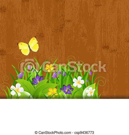 Wood Background With Leaves And Flower - csp9436773
