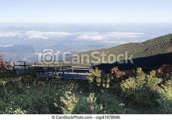 Wood Balcony With Mountain View In Morning Wood Balcony Terrace