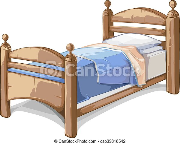 Wood Bed In Cartoon Style Vector Illustration