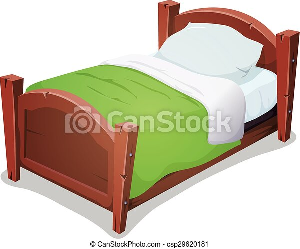 Wood Bed With Green Blanket - csp29620181