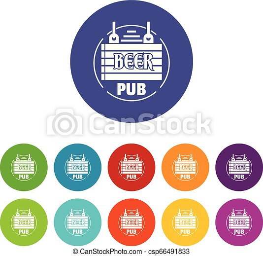 Wood board beer pub icons set vector color - csp66491833