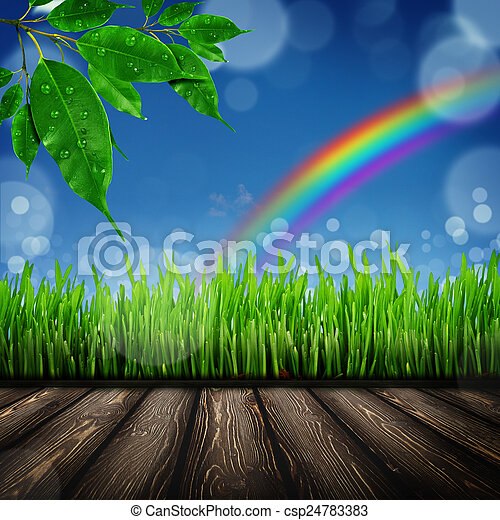 Wood board in the grass field - csp24783383