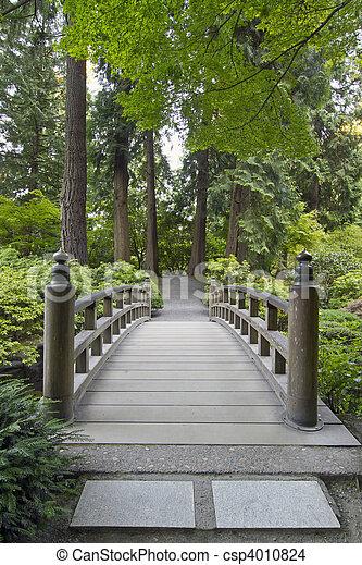 Wood Bridge at Japanese Garden - csp4010824