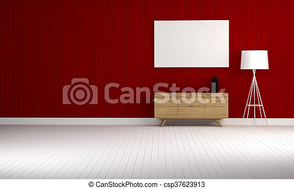 wood cabinet in blue wall living room 3d rendering - csp37623913