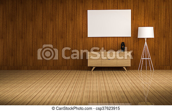 wood cabinet in blue wall living room 3d rendering - csp37623915
