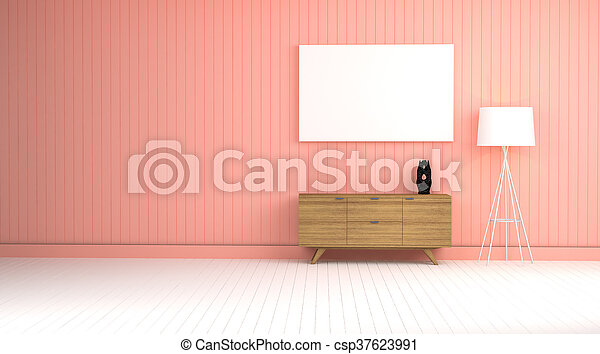 wood cabinet in blue wall living room 3d rendering - csp37623991