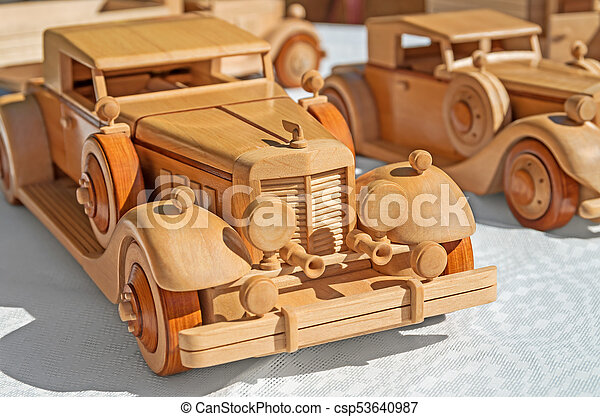 wood car model wooden model of retro executive cars on a white