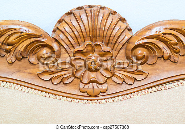 An Wood Carved Flower In Soft Light