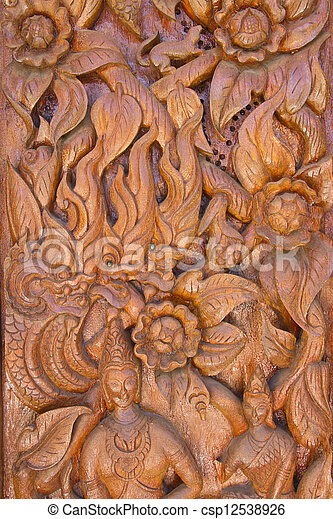 Wood carving decorated at windows of the temple, hand made by Th - csp12538926