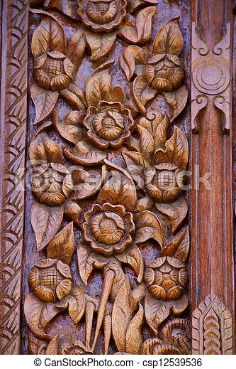 Wood carving decorated at windows of the temple, hand made by Th - csp12539536