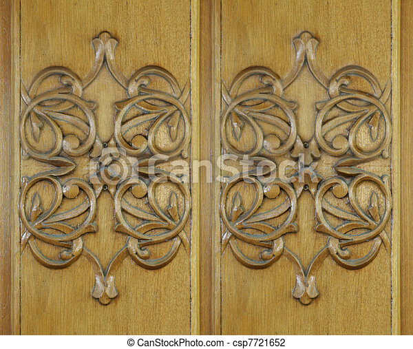 Wood carving, texture, background - csp7721652