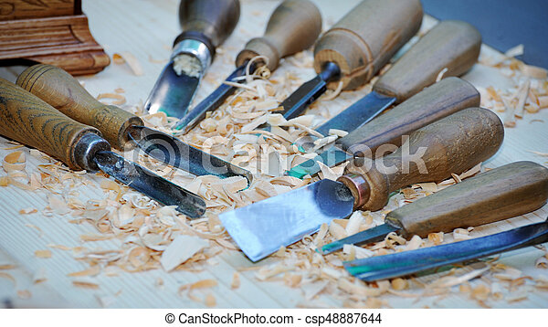 Wood carving tools old tools on wooden background cutters on wood