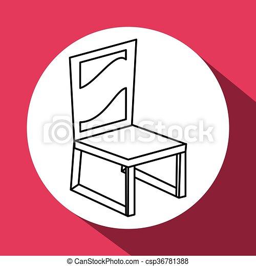 Wood chair design. seat icon. furniture concept, vector... vector ...