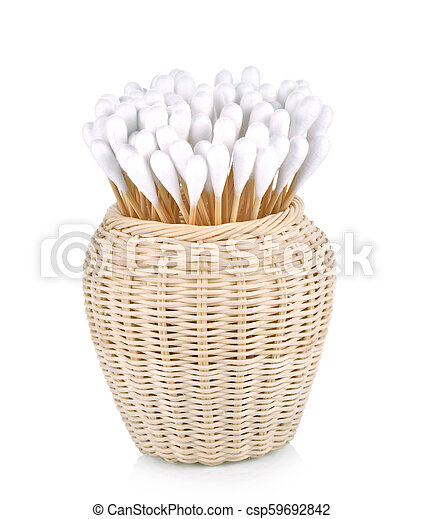 Wood , cotton buds isolated on white background - csp59692842