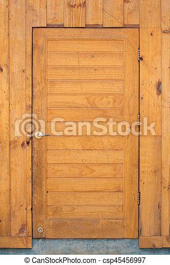 wood door and wall - csp45456997