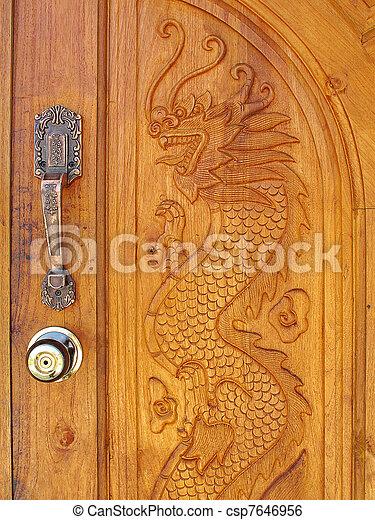 wood dragon door - csp7646956 & Wood dragon door.