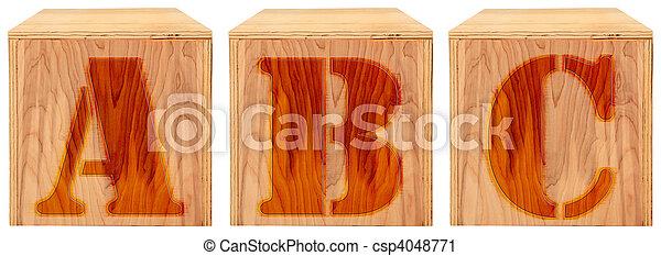 Wood Engraved Alphabet Blocks A B C - csp4048771