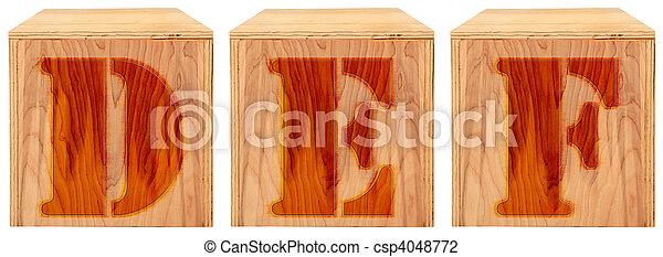 Wood Engraved Alphabet Blocks D E F - csp4048772