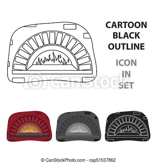 Wood Fired Oven Icon In Cartoon Style Isolated On White Background Pizza And Pizzeria Symbol Stock