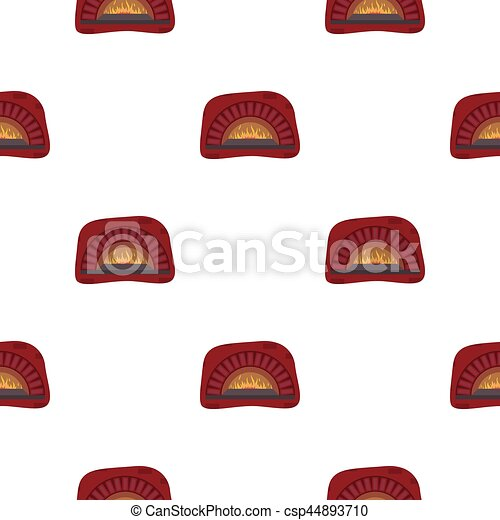 Wood Fired Oven Icon In Cartoon Style Isolated On White Background Pizza And Pizzeria Pattern Stock