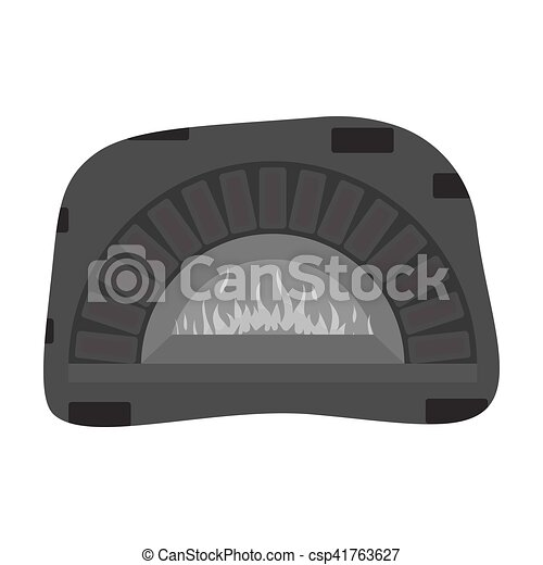 Wood Fired Oven Icon In Monochrome Style Isolated On White Background Pizza And Pizzeria Symbol